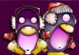 Skating penguins from the KDE Winter theme